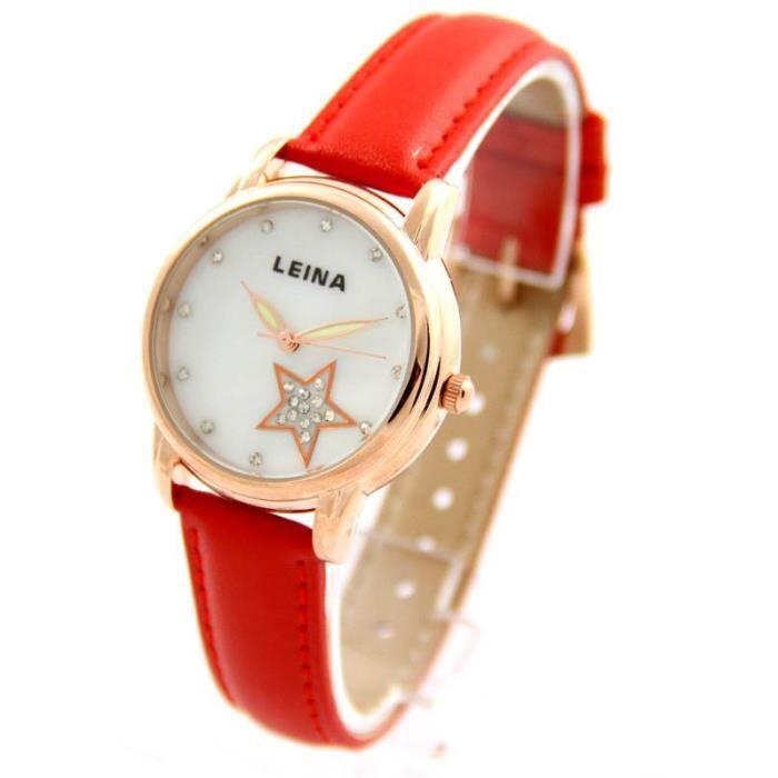 jolie montre femme en cuir rouge leina 773 achat vente montre cdiscount. Black Bedroom Furniture Sets. Home Design Ideas