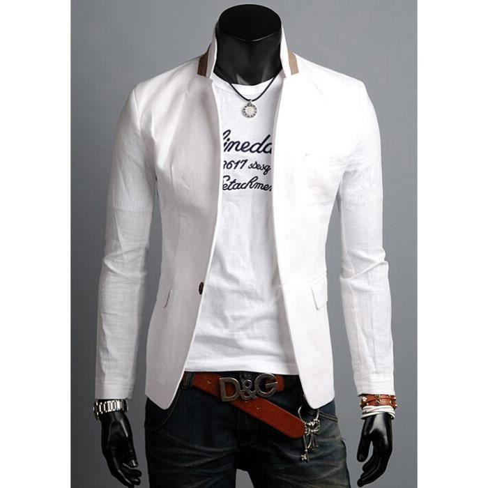 Nouveau elegant hommes casual mince fit un bouton costume manteau blazer vest homme blanc m xxl - Blazer blanc homme ...