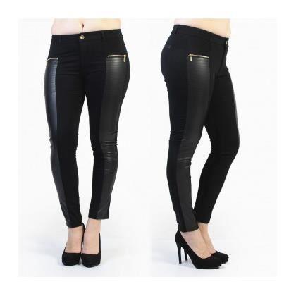 jegging jean grande taille noir avec empi cement cuir noir achat vente pantalon cdiscount. Black Bedroom Furniture Sets. Home Design Ideas