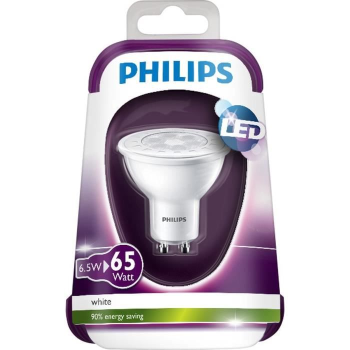philips ampoule spot led gu10 6 5w quivalence 40w achat. Black Bedroom Furniture Sets. Home Design Ideas