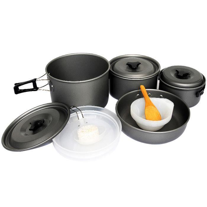 tarion lot d ustensiles de 16 pi ces casserole po le vaisselle en aluminium pour le camping. Black Bedroom Furniture Sets. Home Design Ideas