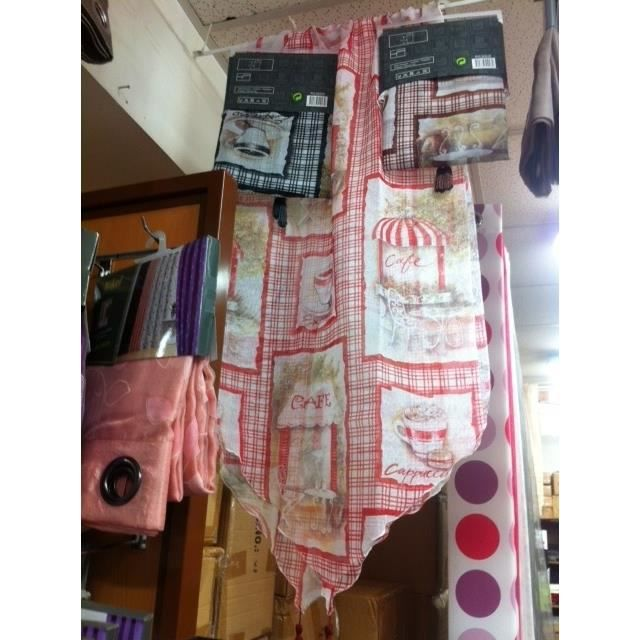 2 rideaux voilage pour cuisine 60 x 160 achat vente rideau cdiscount for Rideaux voilage pour cuisine