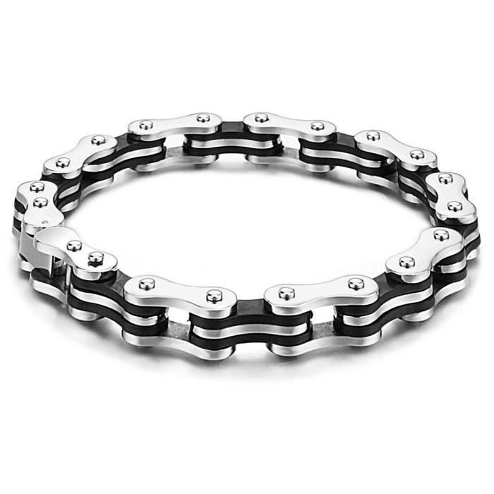 bracelet homme acier caoutchouc noir chaine moto achat vente bracelet gourmette bracelet. Black Bedroom Furniture Sets. Home Design Ideas