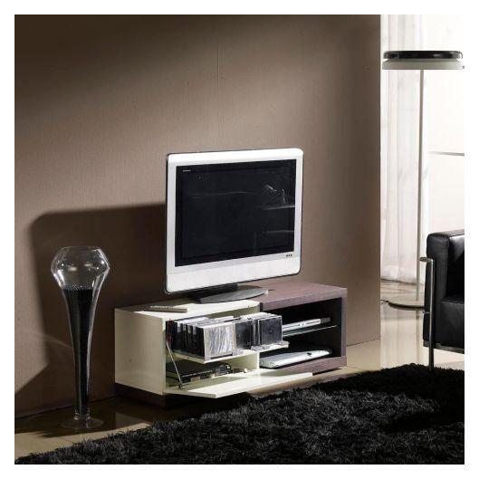meuble tv wengé et laqué blanc - Achat / Vente meuble tv ...