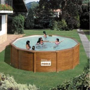 Piscine hors sol acier aspect bois 460 x 132 achat vente kit piscine pisc - Piscine hors sol cdiscount ...