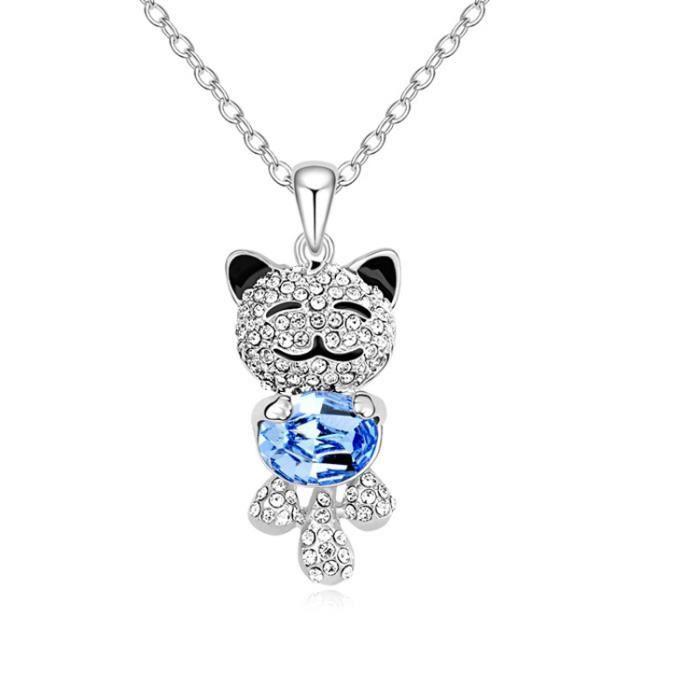collier chat qui sourit plaqu argent cristal swar achat vente sautoir et collier collier. Black Bedroom Furniture Sets. Home Design Ideas