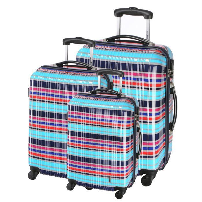 kanabeach set de 3 valises trolley 4 roues hfd bleu achat vente set de valises 3700543743828. Black Bedroom Furniture Sets. Home Design Ideas