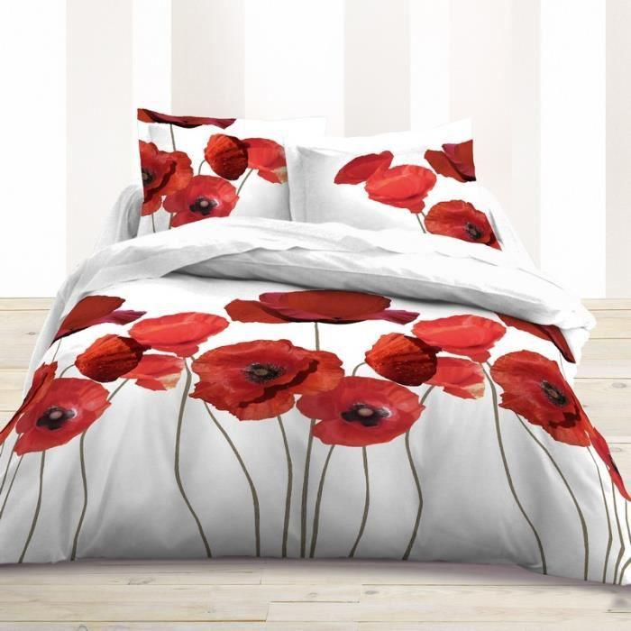 housse de couette 220x240 fleur coquelicot rouge achat vente housse de couette cdiscount. Black Bedroom Furniture Sets. Home Design Ideas