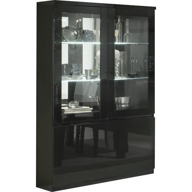 vitrine laque noir a led achat vente vitrine laque noir a led pas cher les soldes sur. Black Bedroom Furniture Sets. Home Design Ideas