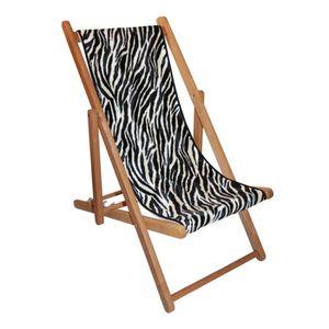Chaise longue bois et toile achat vente chaise longue for Chaise longue en toile