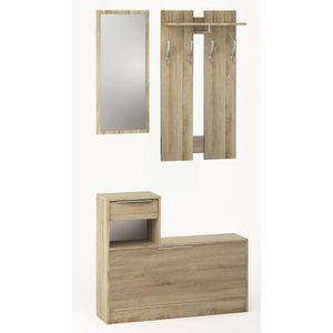 MEUBLE D'ENTRÉE Vestiaire + Miroir, 1 tiroir et 1 abattant en bois