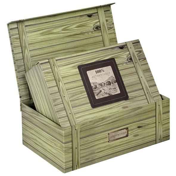 Coffret garnir en carton vert avec une impres achat for Decoration d une boite en carton