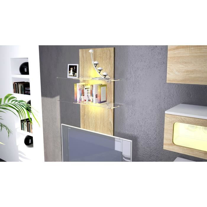 tag re bois brut avec 2 tablettes en verre 110cm achat. Black Bedroom Furniture Sets. Home Design Ideas