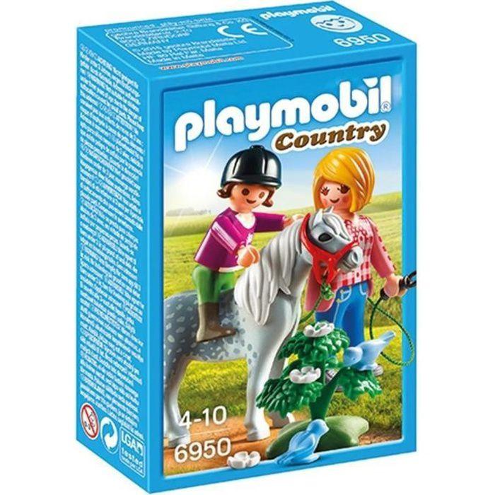 accessoire de figurine playmobil 6950 cavalire avec soigneur et poney
