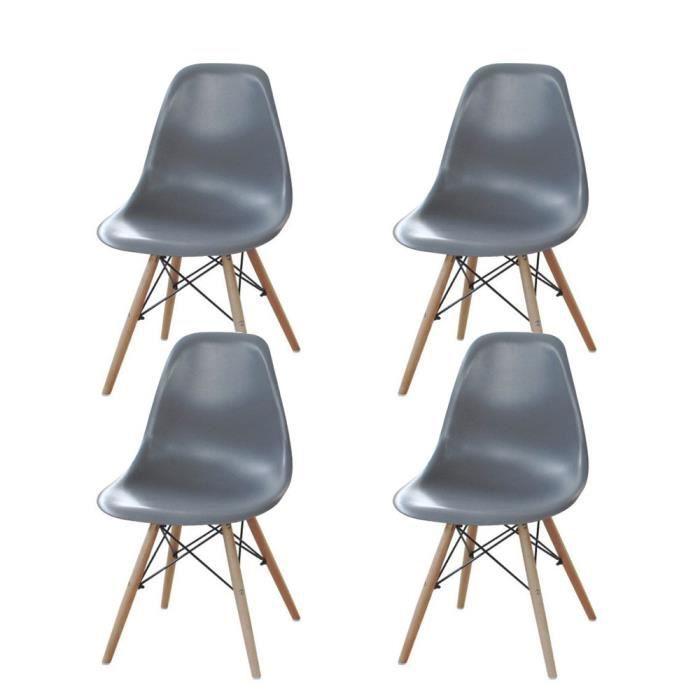 Lot de 4 chaises design gris en plastique pieds en bois for 4 pieds 4 chaises givors