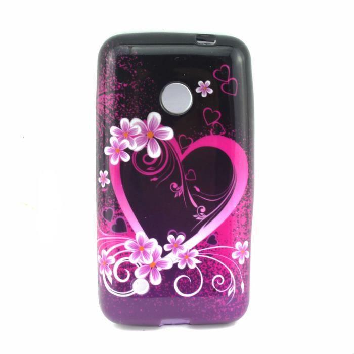 Noir violet rose fleur coeur mode tpu housse etui coque - Fleur au coeur noir ...