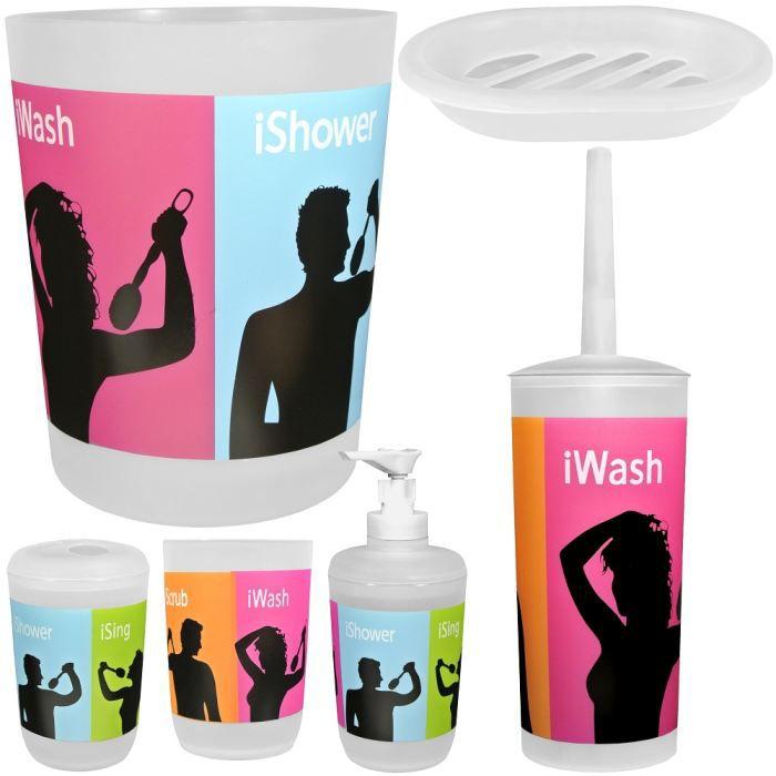 Set lot 6 accessoires salle de bain wc pop disc achat for Accessoire salle de bain wc