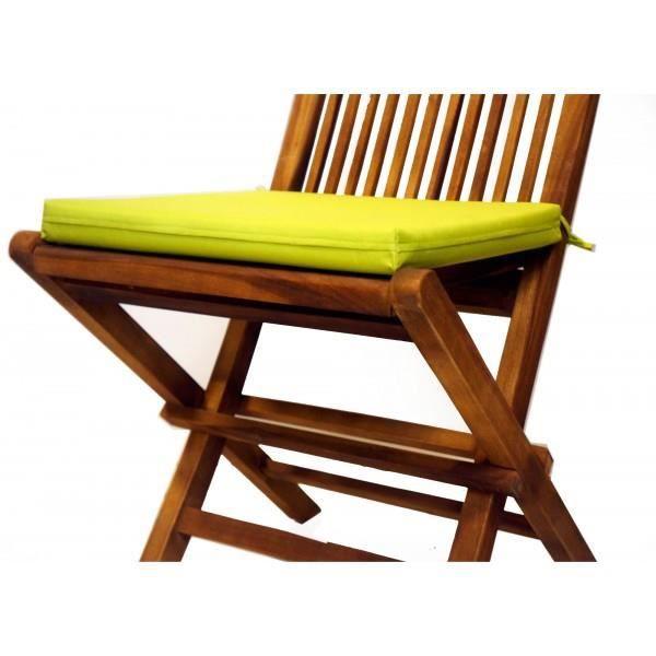 Coussin vert lime en toile pour chaises et faut achat for Toile verte pour jardin