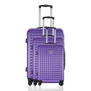 LES P'TITES BOMBES Set de 3 Valises Rigide ABS 4 Roues 50-60-69cm ANOUK Violet
