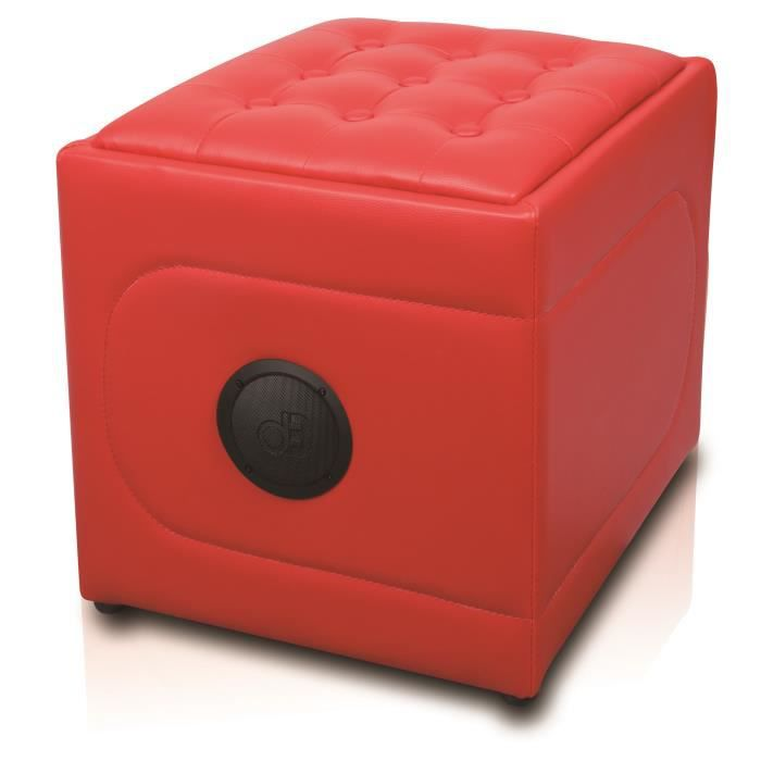 STATION D'ACCUEIL Dynabass Pouf Musical Bluetooth Rouge SOFASOUNDRED