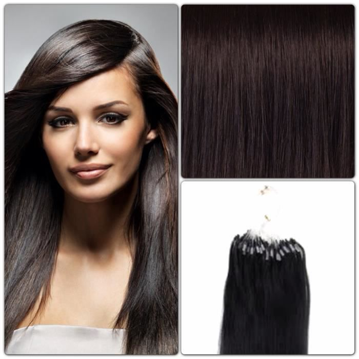 100 extensions de cheveux pose a froid loop brun - Coloration Brun Froid