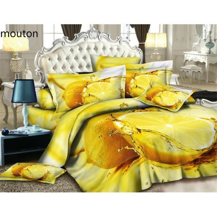 parure de lit citron 200 230 cm 3d effet 4 piece achat vente housse de couette cdiscount. Black Bedroom Furniture Sets. Home Design Ideas