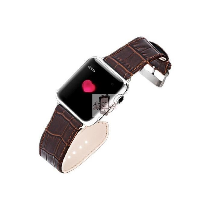 iwatch 38mm bracelet cuir crocodile brun ismile achat vente bracelet montre connec iwatch. Black Bedroom Furniture Sets. Home Design Ideas
