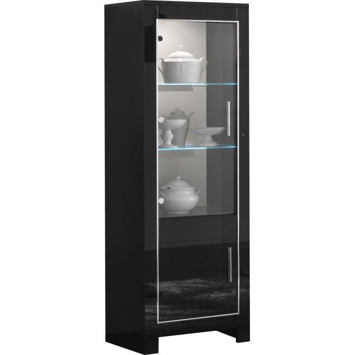 vitrine 1 portes vitr es et 1 portes battantes coloris noir laqu brillant noir achat. Black Bedroom Furniture Sets. Home Design Ideas