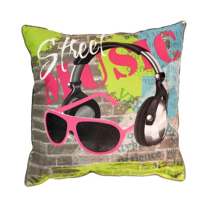 coussin 40x40 cm street music achat vente coussin. Black Bedroom Furniture Sets. Home Design Ideas