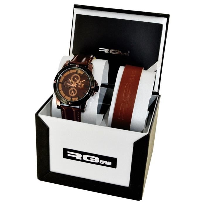 rg512 coffret montre et bracelet homme sport tendance acier achat vente pack montre. Black Bedroom Furniture Sets. Home Design Ideas