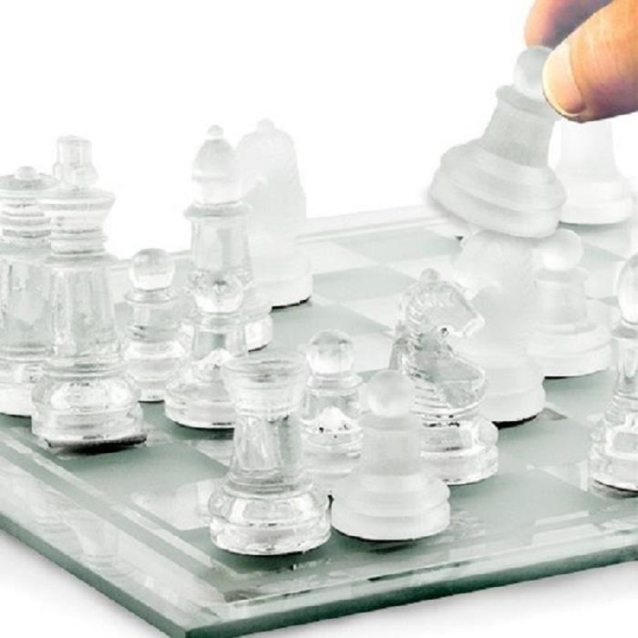 jeux d echecs en verre n 1 dimension 25x25cm pions avec. Black Bedroom Furniture Sets. Home Design Ideas