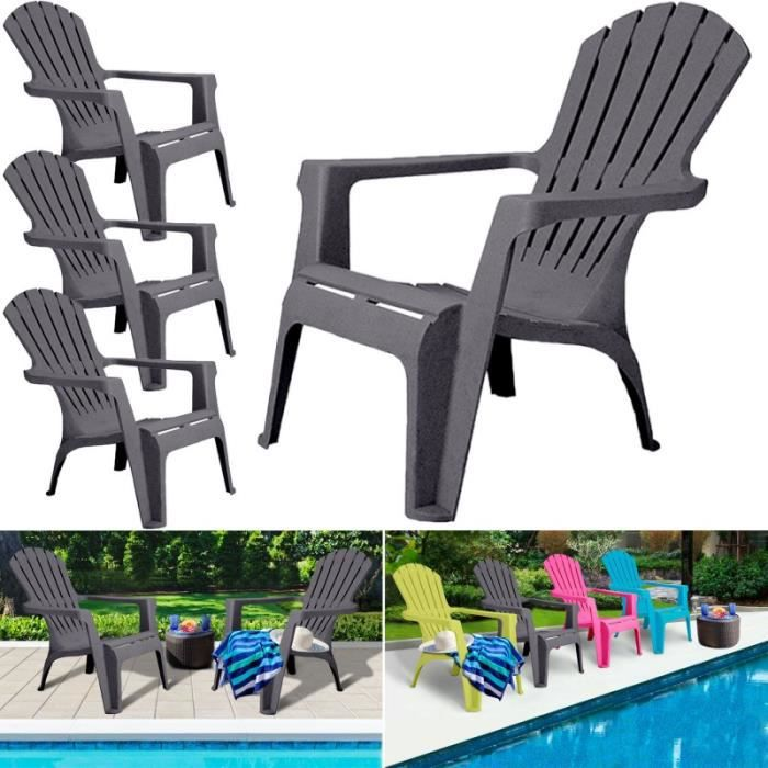 Fauteuil chaise de jardin confort lot x4 gris achat for Chaise de jardin solde