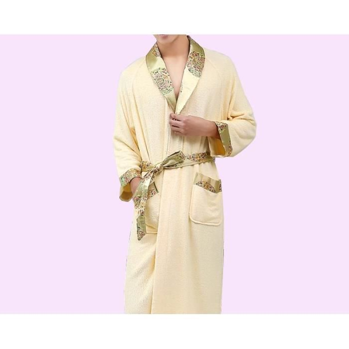 Robe de chambre luxe bambou beige homme achat vente robe de chambre cdiscount - Achat robe de chambre homme ...