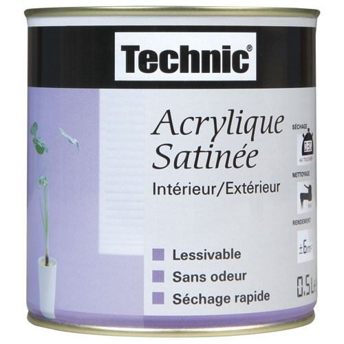 Peinture acrylique satin e 2 5 l gris b ton achat for Peinture acrylique pour mur interieur