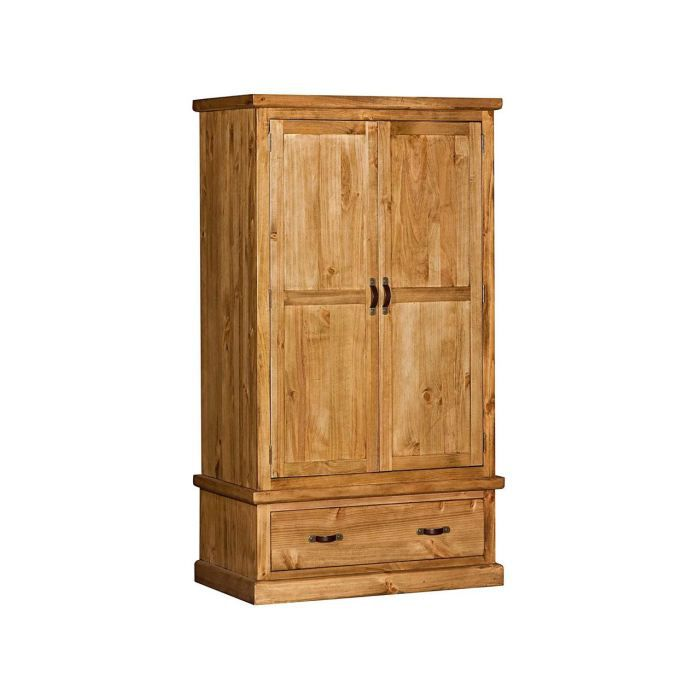 Armoire penderie en pin massif teint et cir 1 achat for Armoire pin massif porte coulissante