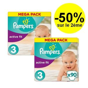 COUCHE PAMPERS Active Fit Taille 3 - 4 à 9kg - 180 couche