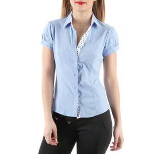 CHEMISE - CHEMISETTE Chemise manches courtes boutonnées bleu