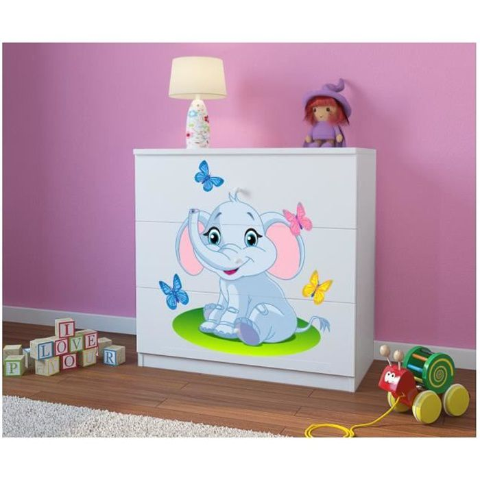 Commode enfant 3 tiroirs elephant blanc achat vente for Deco commode chambre