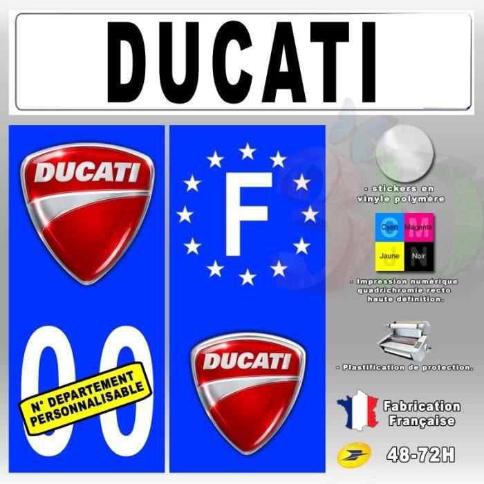 stickers plaque d 39 immatriculation 39 ducati 1 39 auto moto fond bleu 67x30 mm moto achat vente. Black Bedroom Furniture Sets. Home Design Ideas