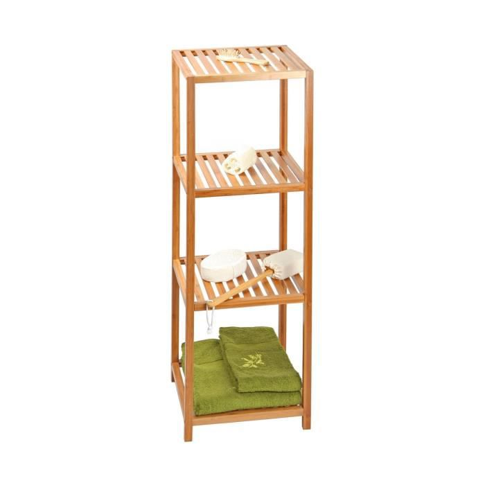 Meuble etag re 4 niveaux bambou salle de bain luxe achat vente armoire de toilette meuble for Echelle bambou salle de bain alinea