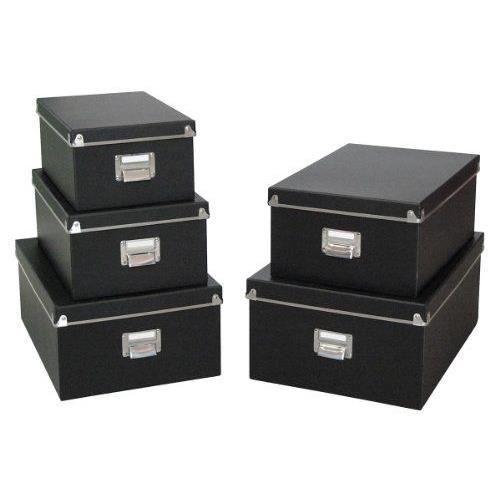 zeller 17950 ensemble de 5 boites en carton noir 40x29x17 cm 38x27x15 cm 35 5x24 5x14 5 cm. Black Bedroom Furniture Sets. Home Design Ideas