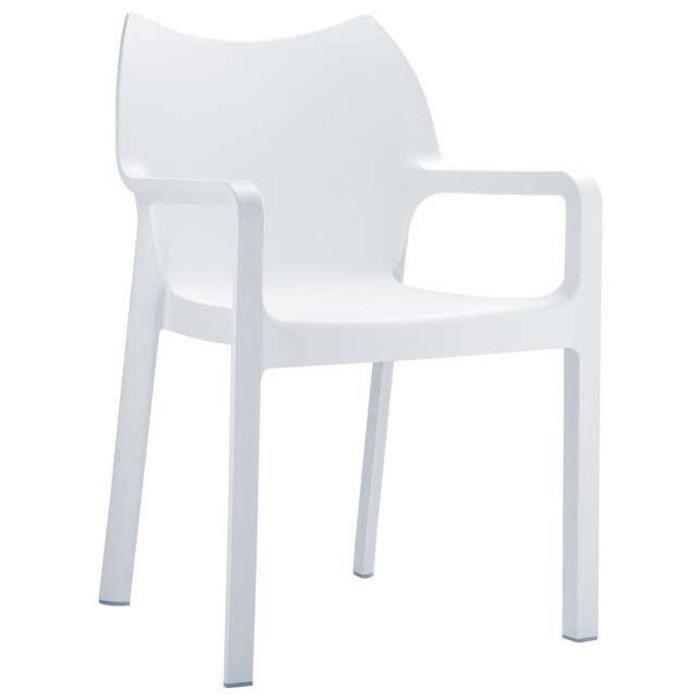 Chaise de jardin empilable en plastique blanc dim h84 x for Chaise en plastique