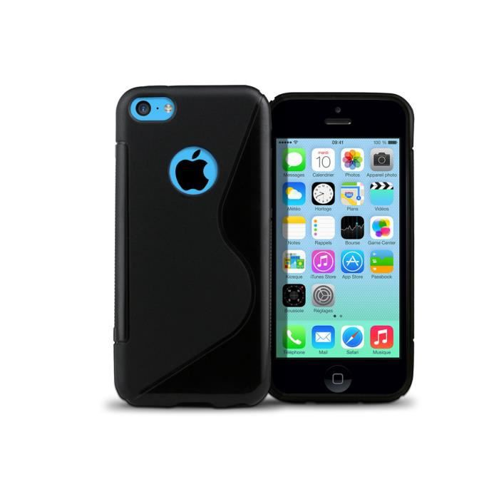 coque iphone 5c grip flex logo noir achat coque bumper. Black Bedroom Furniture Sets. Home Design Ideas