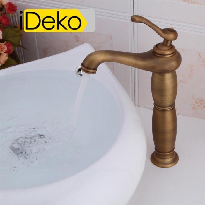 ideko robinet mitigeur lavabo salle de bain en laiton haut de bec r tro cuivre c ramique. Black Bedroom Furniture Sets. Home Design Ideas