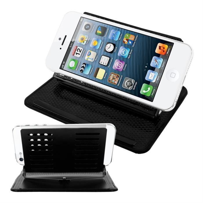 kwmobile support pour voiture tableau de bord pour apple iphone 5 5s avec rev tement anti. Black Bedroom Furniture Sets. Home Design Ideas