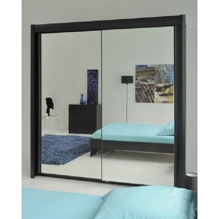 Eden armoire de chambre 156 cm noir achat vente - Armoire ikea porte coulissante miroir ...