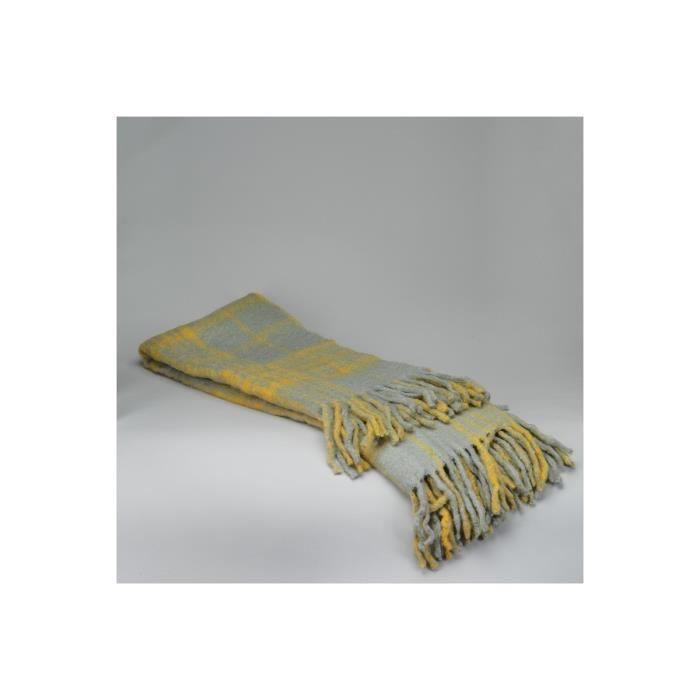 plaid gris et jaune simla 125x150 cm achat vente couverture plaid cdiscount. Black Bedroom Furniture Sets. Home Design Ideas