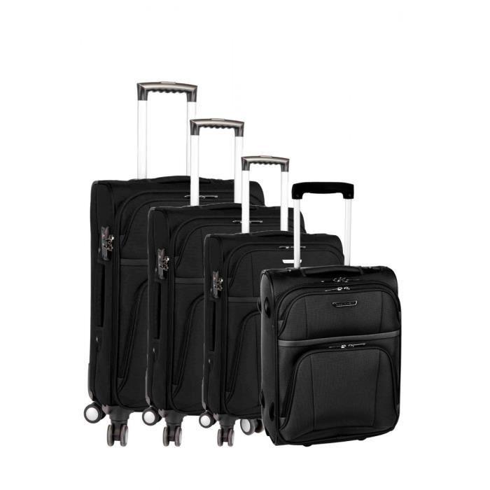 set de 3 valises 4 roues et une valise cabine 2 roues spirit 39 s ball noir noir achat vente. Black Bedroom Furniture Sets. Home Design Ideas
