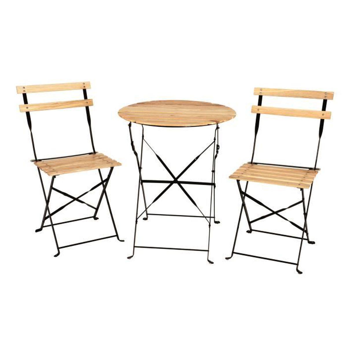 Ensemble bistro table 2 chaises bois massif couleur for Table chaise bois jardin