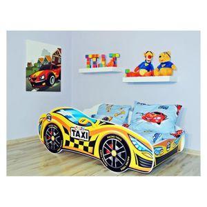 STRUCTURE DE LIT Lit Enfant VOITURE 140x70 + MATELAS taxi
